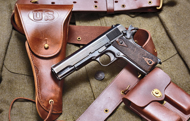 This original Colt M1911 (circa 1918) is pictured with World War Supply's complete M1916 holster, officer's belt and magazine pouch set. (Gun and uniform courtesy Allegheny Trade Collection)