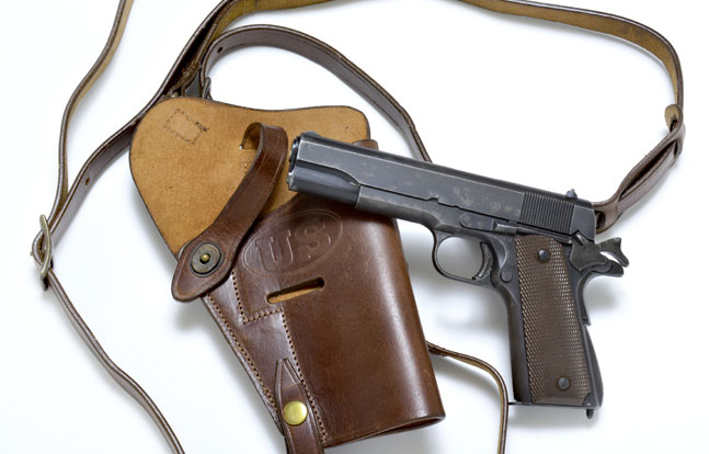 More than 500,000 M7 shoulder holsters were produced during WWII. The reproduction from World War Supply is authentic in all details, and available in brown or black premium drum-dyed leather. (Gun courtesy Allegheny Trade Collection)