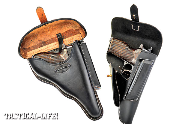 Few guns and holsters are as recognizable as the Walther P.38 and its standard hard leather holster. This rugged design gave the P.38 and one extra magazine total cover with a hard, curved cover that securely latched down over a steel loop attached to the holster pouch. At right, the second model (circa 1944) with a soft leather flap and a conventional brass stud closure.