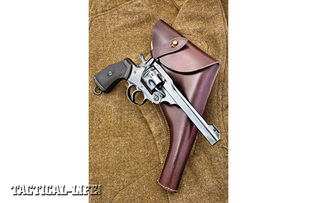 The classic Webley .455 revolver was carried by British soldiers in both world wars. It is shown with a quality reproduction Webley holster handcrafted in India exclusively for World War Supply. It features the Webley-style reverse closure strap, and on the back is the easily opened belt loop with stud closure.