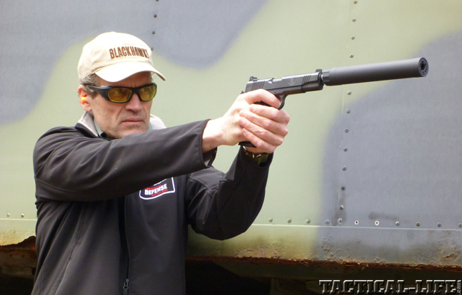 Top 18 Full-Size Guns 2014 AAC REMINGTON R1 1911 WITH Ti-RANT .45 SUPPRESSOR