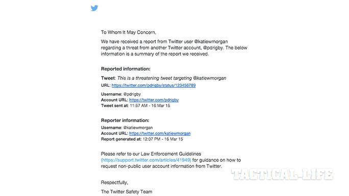 Twitter harassment law enforcement police