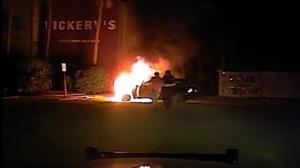 Mount Pleasant Police Department burning car