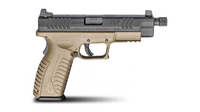 springfield, springfield armory, xd(m) threaded barrel pistol, threaded barrel pistols, springfield armory threaded barrel pistol, flat dark earth threaded barrel