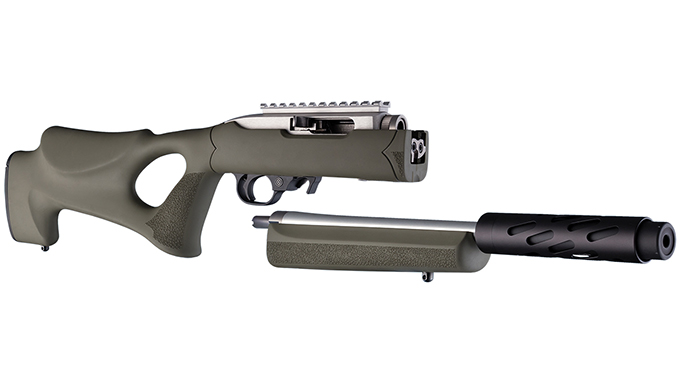 Hogue Tactical Thumbhole Rifle Stock OD Green apart