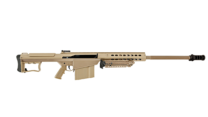 The Barrett M107A1 sniper rifle is five feet long and a weapon with a .50 round caliber.