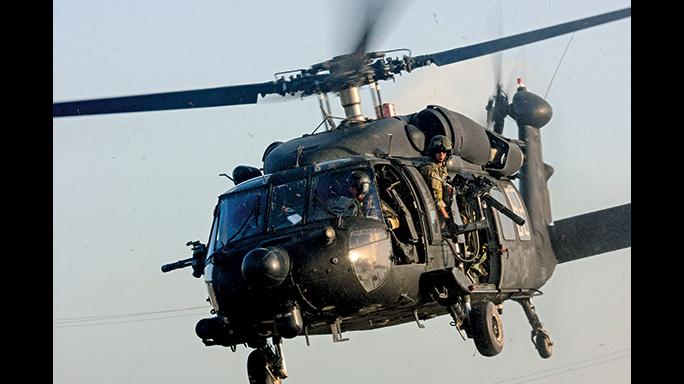 During the raid in Al Qadisiyah, a MH-60 Black Hawk was used.