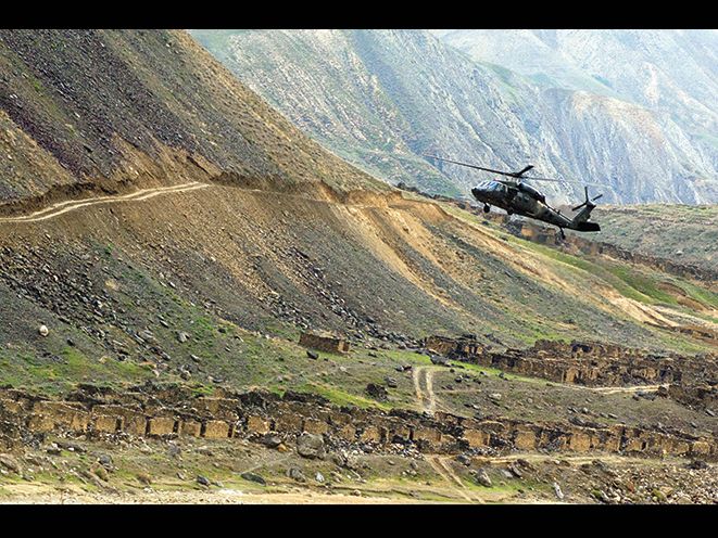As part of the Jawbreaker Mission, a helicopter delivered a CIA team to make contact with the Afghan Northern Alliance.
