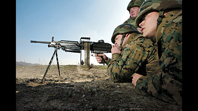 The M249 SAW machine gun weighs 22 pounds, so it's a weapon that can be carried in the field.