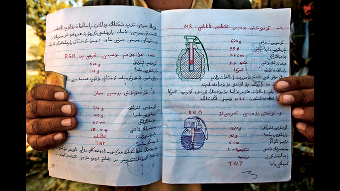 This notebook found in the Tora Bora detailed how to make and handle bombs.