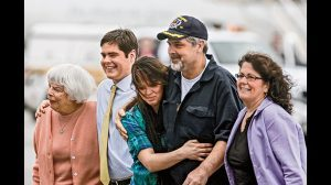 After the rescue, Captain Phillips was reunited with his family.