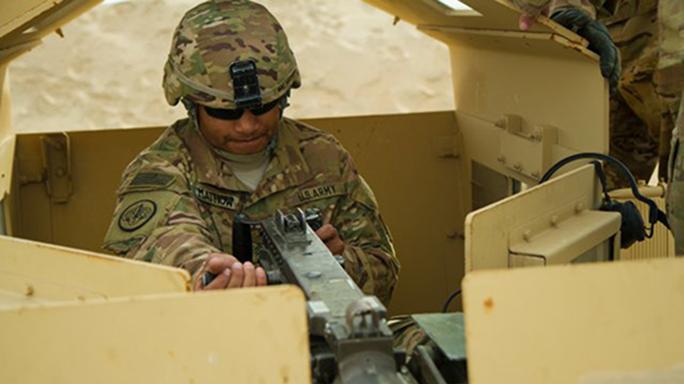 Vehicle gunnery exercise on Camp Buehring, Kuwait,
