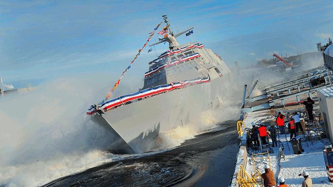 Littoral Combat Ship USS Milwaukee Full Speed