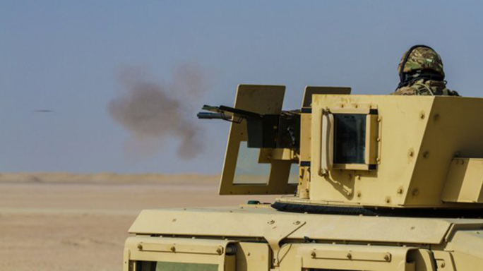 Target training during a vehicle gunnery exercise.