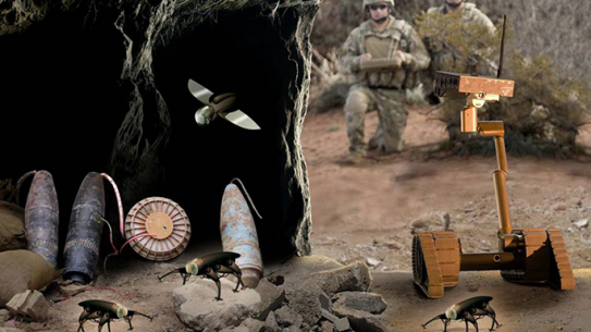 U.S. Army cockroach compressible robot with articulated mechanisms