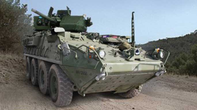 U.S. army stryker vehicle with 30mm cannon