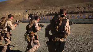 The 1st Marine Division works on gun transitioning drills