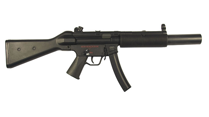 The HK MP5 SD features an integrated silencer