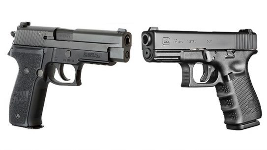The Sig Sauer P226 MK and the Glock 19 used by the U.S. Navy SEALs