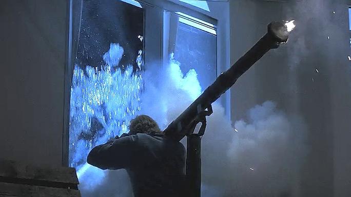 Terrorists fire a rocket launcher in Die Hard