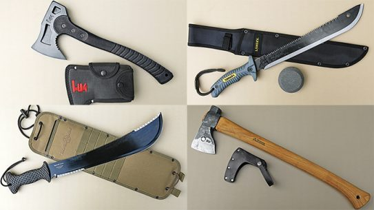 survival axes tomahawks and machetes
