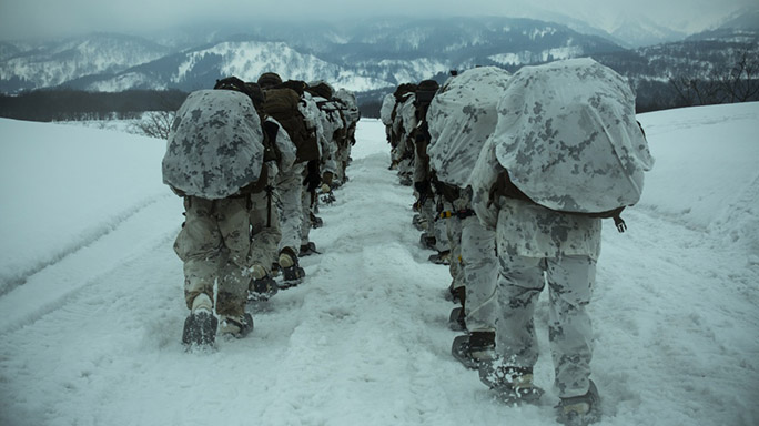 US Marines Cold Weather Training hike