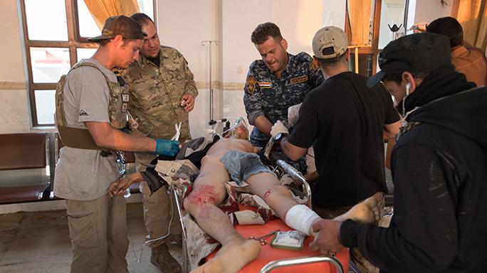 Mosul Medic Nik Frey stretcher