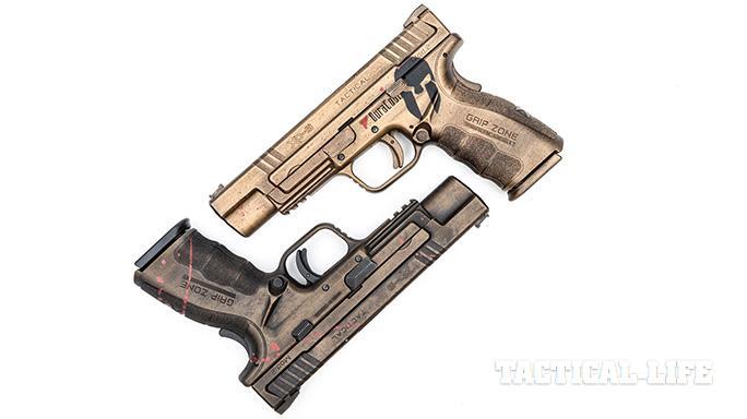 custom Springfield XD pistols angled