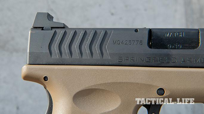 Springfield XDM 4.5 inch Threaded Barrel pistol serrations