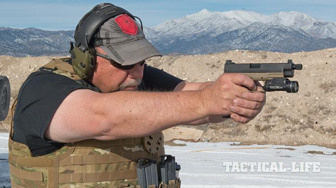 Springfield XDM 4.5 inch Threaded Barrel pistol shooting
