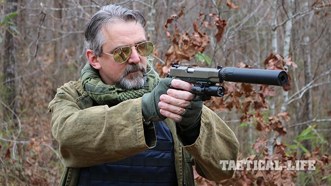 Kimber Warrior SOC TFS pistol author aiming