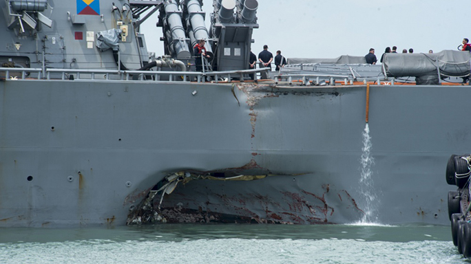 us navy ship john s mccain collision damage