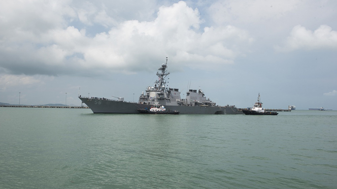 us navy ship john s mccain collision damage tugboats