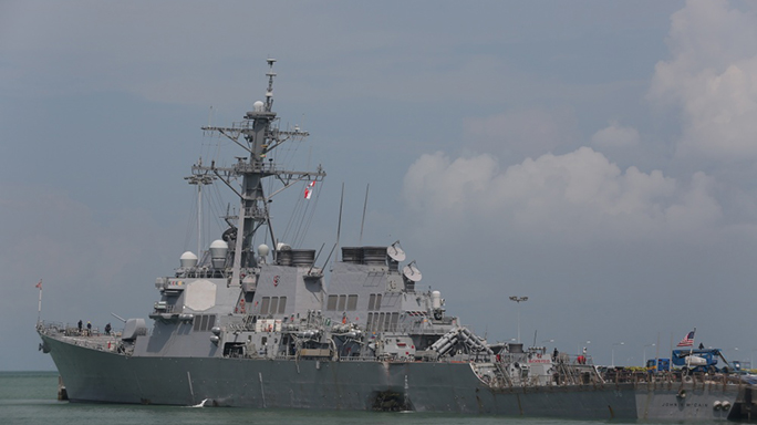 us navy ship john s mccain collision damage moored