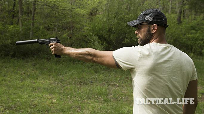 Sig P227 TACOPS pistol aiming