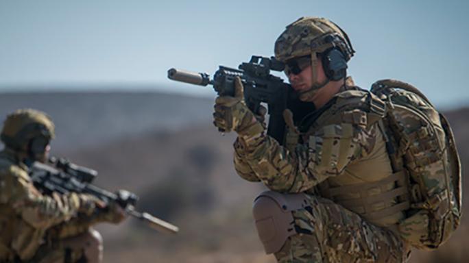 IWI Tavor 7 bullpup rifle firing
