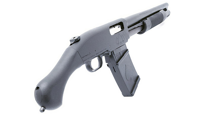 Black Aces Shockwave Magazine Fed 12-Gauge firearm rear angle