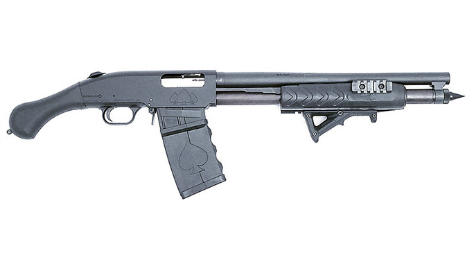Black Aces Shockwave Magazine Fed 12-Gauge firearm with Magpul forend right profile