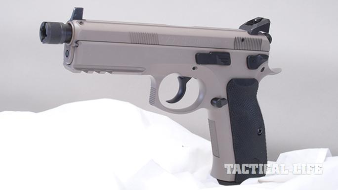 CZ SP-01 Tactical Urban Grey Suppressor-Ready pistol left profile