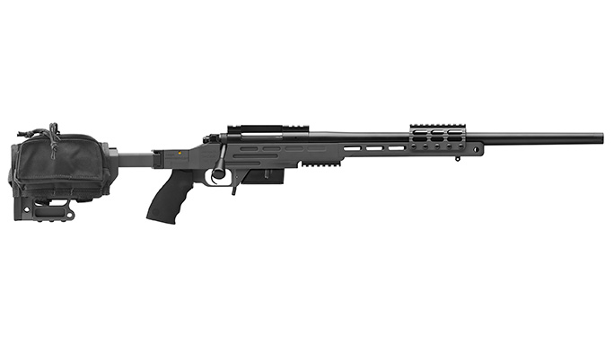 Kimber Advanced Tactical SOC II sniper gray rifle profile with bag