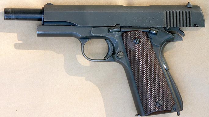 surplus 1911 pistol slide back left profile