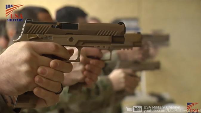 army MHS m17 pistol firing line