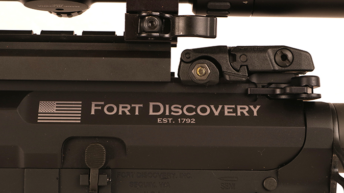 Fort Discovery Expedition rifle engraving closeup