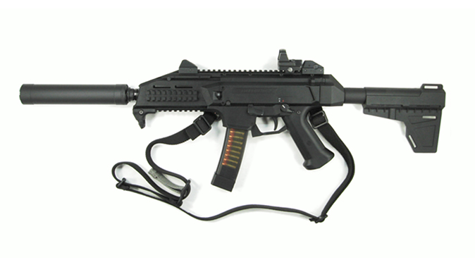 American Clandestine Equipment SMG9-SC suppressor attached to cz scorpion