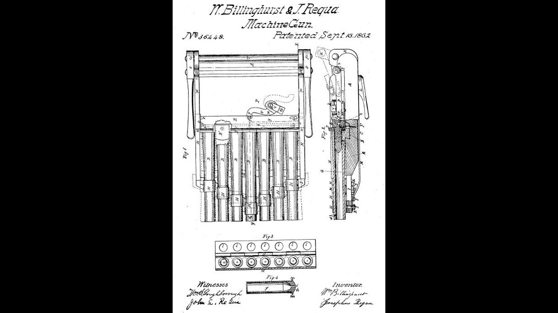 Billinghurst-Requa Battery Gun First machine gun patent