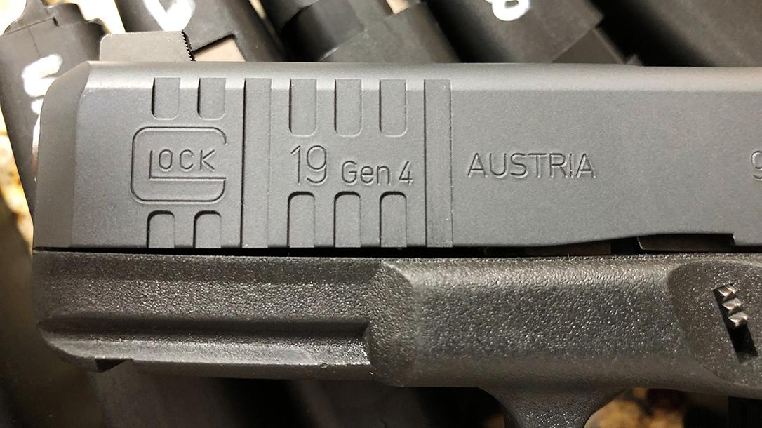 Custom Wilson Combat Glock 19 Gen4 pistol logo