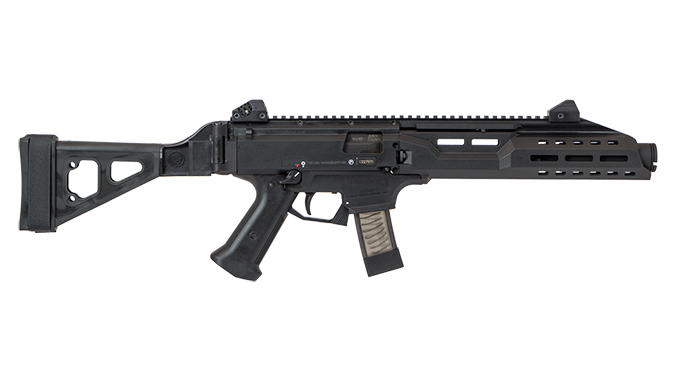CZ Scorpion EVO 3 S1 Pistol w/ Flash Can and Folding Brace right profile
