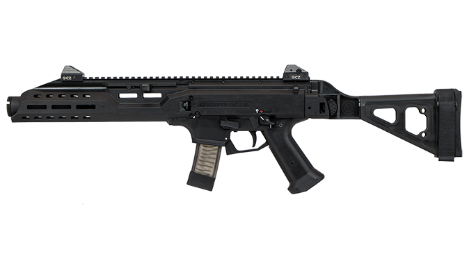 CZ Scorpion EVO 3 S1 Pistol w/ Flash Can and Folding Brace left profile