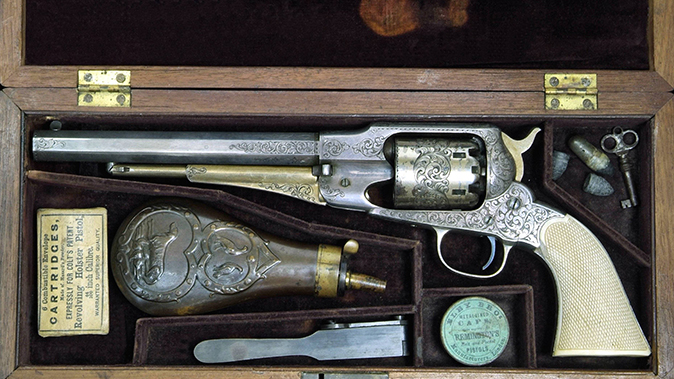 remington revolvers silver and gold