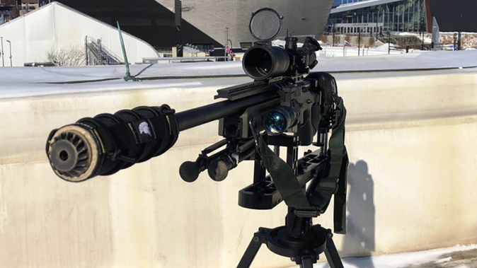 minneapolis police super bowl 52 oss suppressors rifle closeup